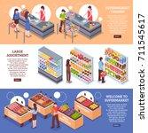 supermarket horizontal banners... | Shutterstock .eps vector #711545617
