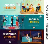 cartoon set of three colorful... | Shutterstock .eps vector #711545647