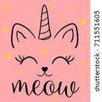 unicorn cat illustration print... | Shutterstock .eps vector #711551605