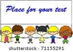 cute children holding hands... | Shutterstock .eps vector #71155291