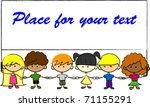 cute children holding hands... | Shutterstock .eps vector #71155291