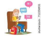 teen girl. happy girl talking ... | Shutterstock . vector #711558931