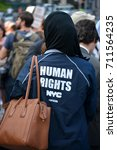 Small photo of New York City - September 5, 2017: Member of the New York City Human Rights Commission at a protest against repealing the Deferred Action for Childhood Arrivals (DACA) policy in Lower Manhattan.