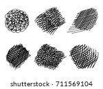 set of hand drawn scribble... | Shutterstock .eps vector #711569104