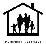 large family house silhouette | Shutterstock .eps vector #711576685