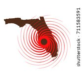 hurricane over florida. vector... | Shutterstock .eps vector #711583591