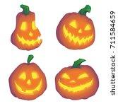 halloween pumpkin objects jack... | Shutterstock .eps vector #711584659