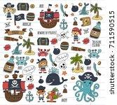 vector pirates children cartoon ...   Shutterstock .eps vector #711590515