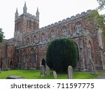 Small photo of The twelfth century Crediton parish church in Devon UK, formerly known as the Church of the Holy Cross and the Mother of Him who Hung Thereon - one of the more unusual UK church names