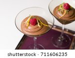 chocolate mousse in glass... | Shutterstock . vector #711606235