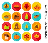 thanksgiving day flat icons.... | Shutterstock .eps vector #711608395