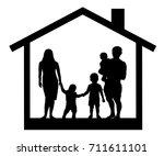house family silhouette | Shutterstock .eps vector #711611101