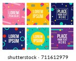 Memphis style cards. Collection of templates in trendy fashion 80-90s. Perfect for ad, greeting cards, presentation, cover design and more. Vector. | Shutterstock vector #711612979