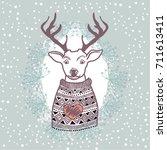 reindeer  winter | Shutterstock .eps vector #711613411
