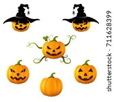 halloween set with pumpkins.... | Shutterstock .eps vector #711628399