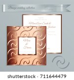 luxury bronze shiny wedding... | Shutterstock .eps vector #711644479