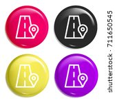 road multi color glossy badge... | Shutterstock .eps vector #711650545