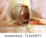 Sieve And Rustic Items On The...