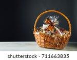 gift basket on gray background | Shutterstock . vector #711663835