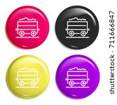 wagon multi color glossy badge... | Shutterstock .eps vector #711666847