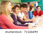 teenage students studying in... | Shutterstock . vector #71166694