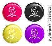 son multi color glossy badge...