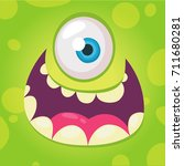 funny cartoon monster face.... | Shutterstock .eps vector #711680281