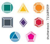 set of colored gems on a white... | Shutterstock .eps vector #711689059