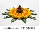 flower rangoli for diwali or... | Shutterstock . vector #711689389