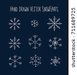 hand drawn snowflakes icon set... | Shutterstock .eps vector #711689725