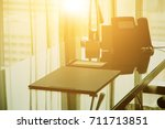 modern desk office interior in ... | Shutterstock . vector #711713851