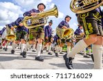 Gaissach, Germany - August 20: people at a parade for the 1200 year anniversary on August 20, 2017 in Gaissach - stock photo