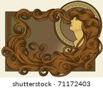 art,attractive,background,beauty,blowing,brown,classic,concept,copy,curly,decoration,design,detailed,disheveled,drawing
