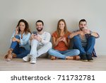 group of friends using... | Shutterstock . vector #711732781