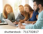 startup team meeting together... | Shutterstock . vector #711732817