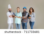 young adults with different... | Shutterstock . vector #711733681
