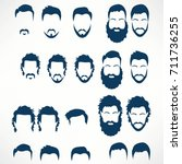 hipster vector set  hair and... | Shutterstock .eps vector #711736255