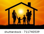 family with three children in... | Shutterstock .eps vector #711740539