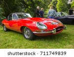 BRODIE, SCOTLAND - August 13 2017: Classic Jaguar E Type at a vintage rally - stock photo