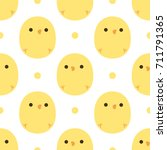 cute chick seamless pattern... | Shutterstock .eps vector #711791365