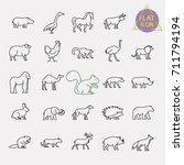 animals line icons set | Shutterstock .eps vector #711794194