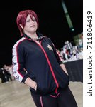 Small photo of Sheffield, UK - June 04, 2017: Cosplayers dressed as 'Rin Matsuoka' from the anime 'Free!' at Yorkshire Cosplay Con in Sheffield Arena.