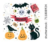 vector set for halloween.... | Shutterstock .eps vector #711808924