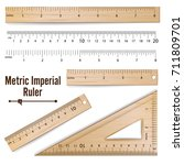 wooden metric imperial rulers... | Shutterstock .eps vector #711809701