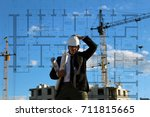 male in the suit with blueprint ... | Shutterstock . vector #711815665