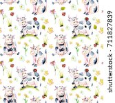 seamless pattern with... | Shutterstock . vector #711827839