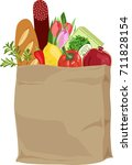 paper bag with food | Shutterstock .eps vector #711828154