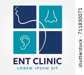 ent logo template. head for ear ... | Shutterstock .eps vector #711830071