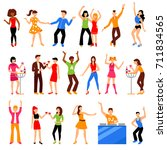 dancing and drinking people at ... | Shutterstock . vector #711834565