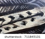 painted tribal pattern on wood... | Shutterstock . vector #711845131
